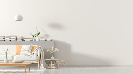 Empty wall mock up in Scandinavian style interior with wooden furnitures. Minimalist interior design. 3D illustration.