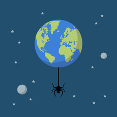 Planet earth with spider