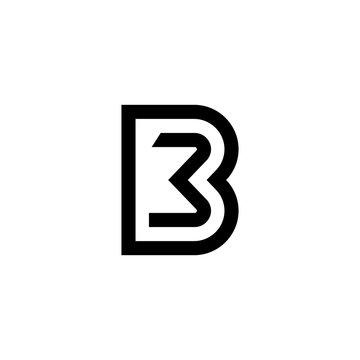 modern line initial b3 letter logo design vector image illustration
