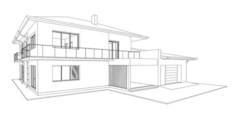 Vector wireframe perspective of luxury modern house exterior. 3D vector model of cottage isolated on white background.