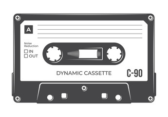 Vector old compact audio cassette. Isolated on white background