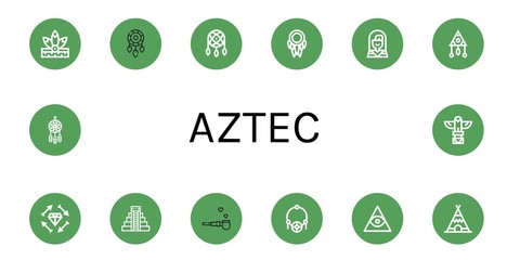Set of aztec icons such as Native american, Dreamcatcher, Boho, Mayan pyramid, Pipe of peace, Amulet, Freemasonry, Teepee, Totem , aztec
