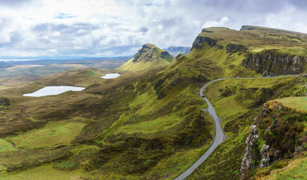 Panoramic image of spectacular scenery of The Quiraing on the Isle of Skye in summer , Scotland