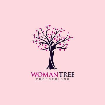 woman tree, SPA beauty care natural girl autumn logo icon art vector illustration