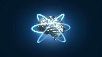 Blue metallic brain with atomic electron paths in orbit - 3D rendered illustration