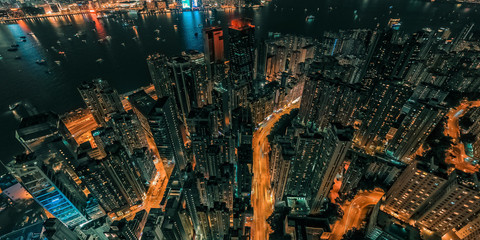 Panorama aerial view cityscape of Central District in Hong Kong Wall mural
