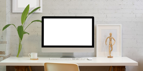 Blank screen desktop computer in minimal style office
