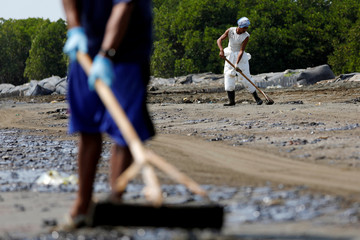 Workers scrape sand affected by oil spill as they clean a beach at a shoreline in Karawang