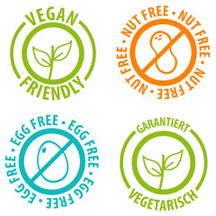 Wall Mural - Vegan Friendly Icon Badge Design. Nut Free and Egg Free Bagdes.