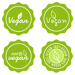 Wall Mural - Set of Food Badges. Vegan Best Quality. Vector Hand Drawn Signs.