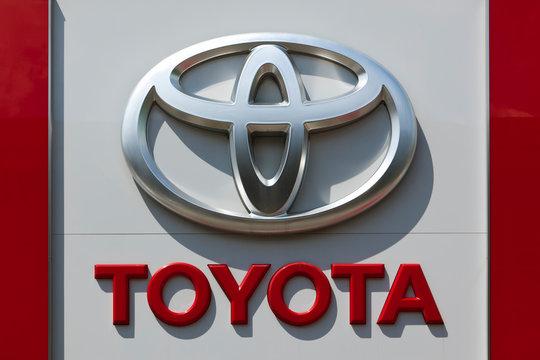 Dusseldorf, Germany - June 12, 2011: Toyota logo on the outside of a car dealershipbuilding.