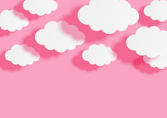 Paper clouds on pink sky background for Your design