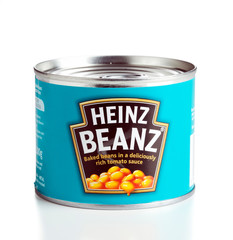 Ratingen, Germany - July 13, 2011: A can of Heinz Beanz baked beans in tomato sauce isolated on white background.