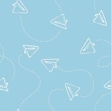 Paper airplane or envelope seamless pattern. Vector mail texture.