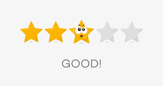 Three stars good rating symbol. Funny illustration - easy to use for your website or presentation.