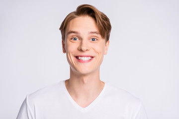 Close-up portrait of his he nice-looking cute attractive cheerful cheery glad positive content guy...