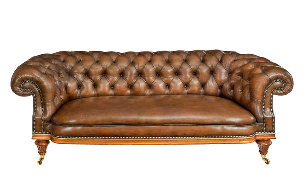 Classic brown leather sofa isolated on white