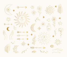 Hand drawn golden mystic symbols. Sun, moon, star tattoo design. Vector gold foil isolated illustration.