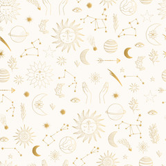 Gold foil pattern with cute hand drawn sun, planet, moon star. Mystic solar design. Vector illustration.