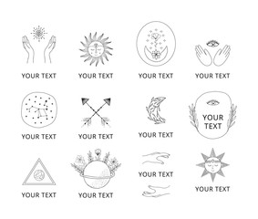 Set of space branding elements. Vintage hand drawn astrology signs. Vector isolated illustration.