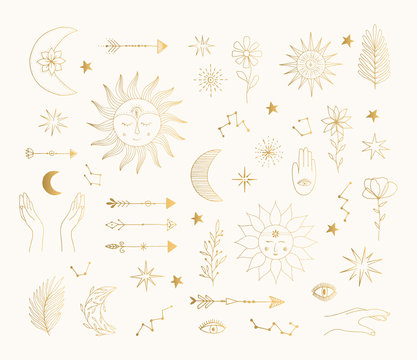 Hand drawn golden mystic symbols. Sun, moon, star tattoo design. Vector gold foil isolated illustration.