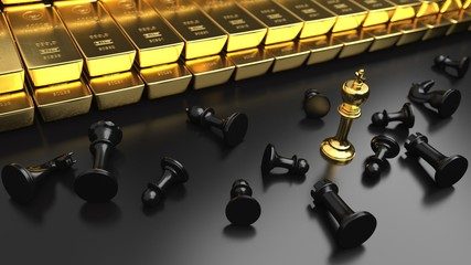 Fototapete - Successful Strategy Gold Investment