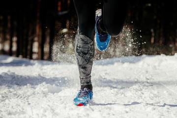Wall Mural - legs athlete runner running in winter snow trail.