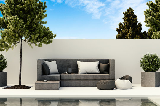 design of outdoor living room with sofa and pool, 3d rendering illustration