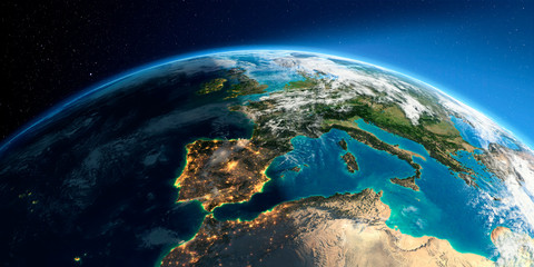 Detailed Earth. Spain and the Mediterranean Sea