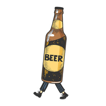 Beer bottle walks on its feet color sketch engraving vector illustration. Scratch board style imitation. Black and white hand drawn image.
