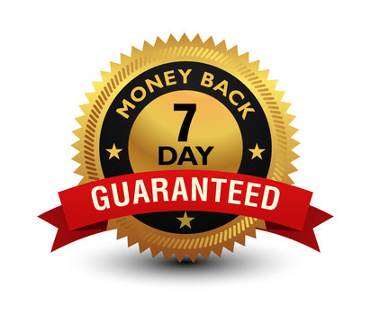 Golden glossy, top quality 7 day money back guaranteed badge, sign, seal, stamp, label with red ribbon on top isolated on white background.