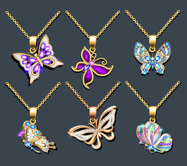 illustration of a set of butterfly pendants with precious stones