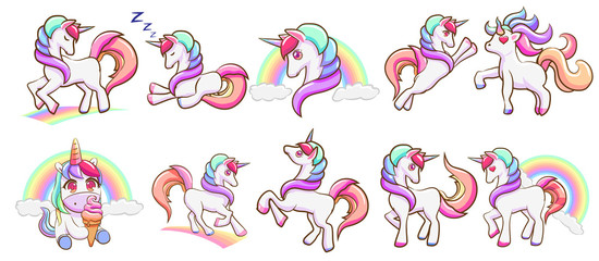 unicorn vector set graphic clipart design
