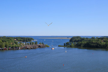The bay of the holiday destination Roebel on Mueritz lake, Mecklenburg lake district, Germany