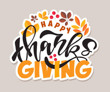 Happy thanksgiving day - Hello Autumn Vibes- cute template hand drawn doodle lettering poster banner art