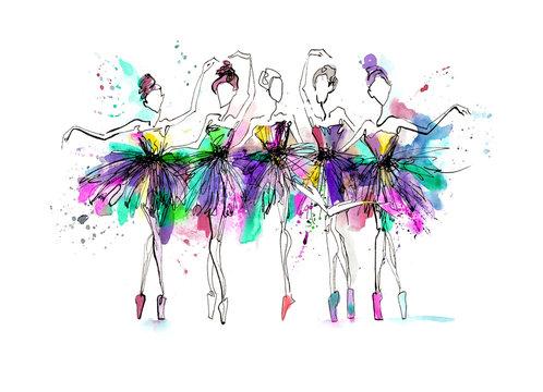 Watercolor silhouettes of ballerinas. Bright spray. Dance. Bright spots, ballet tutu. different poses. Ballerinas in the dance. Watercolor background, bright splashes.Prima ballerina.