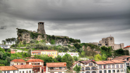 Landscape with ruins of Kruje castle, Albania