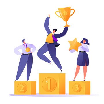 Happy business people standing on the winner podium with awards. Businessman with golden trophy cup. Teamwork, career, rich goal sucsess achievement theme with successful flat characters.