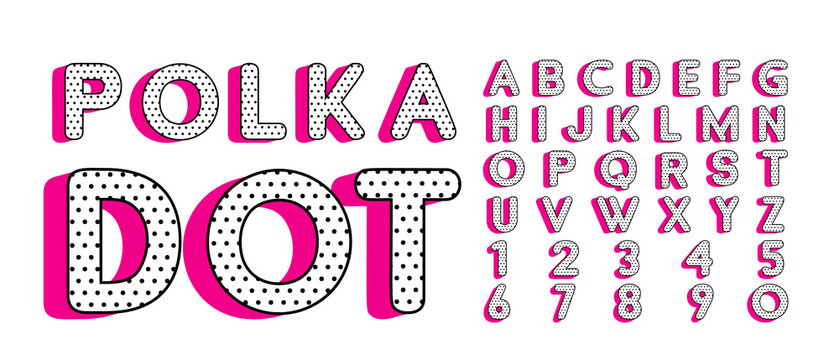Cute polka dots 3D english alphabet letters set.  Vector LOL doll surprise style. Happy birthday alphabet with hot pink shadow