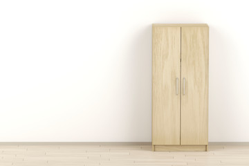 Wood wardrobe in the room