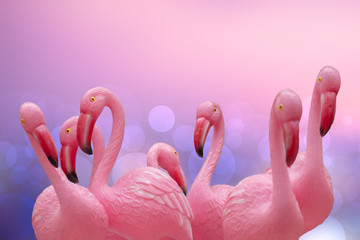 Flamingo background. Close-up of a group of pink plastic flamingos with selective focus against abstract tropical background. Card concept.Macro.