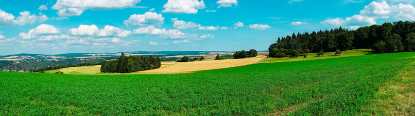 In de dag Groene Panorama view, meadows between Niederwallmenach and Urbar, Germany