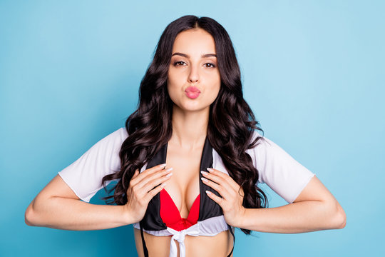 Photo of beautiful tender lady touch bust red bra tits send air kiss boyfriend seduce wear white top isolated blue background
