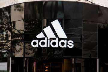 LONDON, UK - JULY 31th 2018: Adidas sportswear store shop front on Oxford Street in central London.