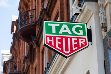 LONDON, UK - JULY 31th 2018: Tag Heuer luxury watch shop sign on Oxford Street in central London.
