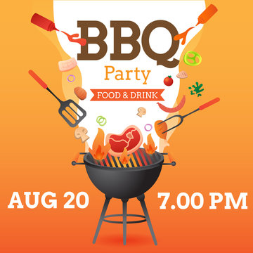 BBQ party invitation ,card or poster template with grill and food flyer vector flat style  illustration.