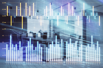 Stock market chart with trading desk bank office interior on background. Double exposure. Concept of financial analysis