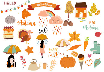 Autumn object collection with pumpkin,cloud,rainbow,woman.Illustration for sticker,postcard,invitation,element website.Included hello autumn and happy fall wording