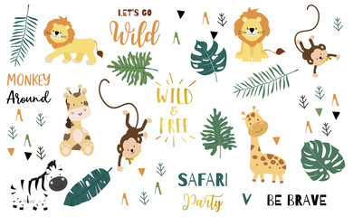 Safari object set with monkey,giraffe,zebra,lion,leaves. illustration for logo,sticker,postcard,birthday invitation.Editable element