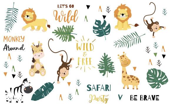 Safari object set with monkey,giraffe,zebra,lion,leaves. illustration for logo,sticker,postcard,birthday invitation.Editable element